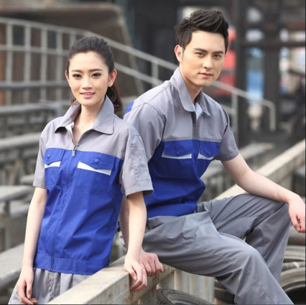 Bộ quần áo kỹ thuật tay ngắn cao cấp KT01 - Quần áo bảo hộ cho kỹ sư, kỹ thuật sửa chữa máy công nghiệp màu Xám Phối Xanh Dương