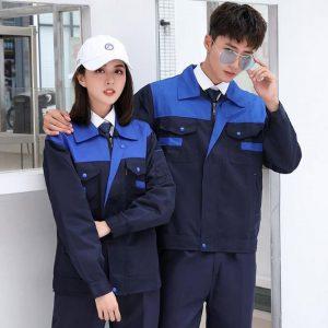 Quần áo bảo hộ công trình cao cấp mẫu XD02 - Đồ bảo hộ công trường, quần áo bảo hộ cho kỹ sư Xanh Đen Phối Xanh Da