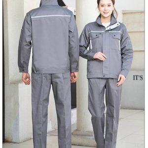 Bộ quần áo bảo hộ công trình có phản quang cao cấp mẫu XD03-01 - Quần áo bảo hộ cho kỹ sư, công nhân công trình màu Ghi Xám