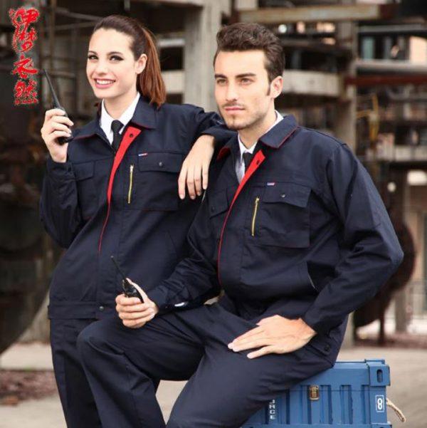 Bộ quần áo bảo hộ công trình tay dài cao cấp mẫu XD04 - Đồ bảo hộ công trường, kỹ sư, kỹ thuật màu Xanh Đen Phối Viền Đỏ