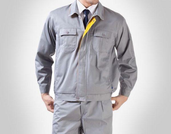 Bộ quần áo bảo hộ công trình tay dài cao cấp mẫu XD05 – Đồ bảo hộ công trường, kỹ sư, kỹ thuật màu Xám thông dụng