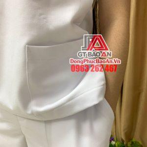 [May Sẵn] Bộ Scrubs bác sĩ cao cấp màu Trắng - Bộ quần áo Blouse cổ tim cho y tá, hộ lý, điều dưỡng phòng khám, bệnh viện, thẩm mỹ viện, spa