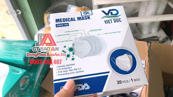 [Có Sẵn] Khẩu trang VN95 Việt Đức chính hãng - Khẩu trang lọc bụi mịn không van thở, khẩu trang y tế phẫu thuật