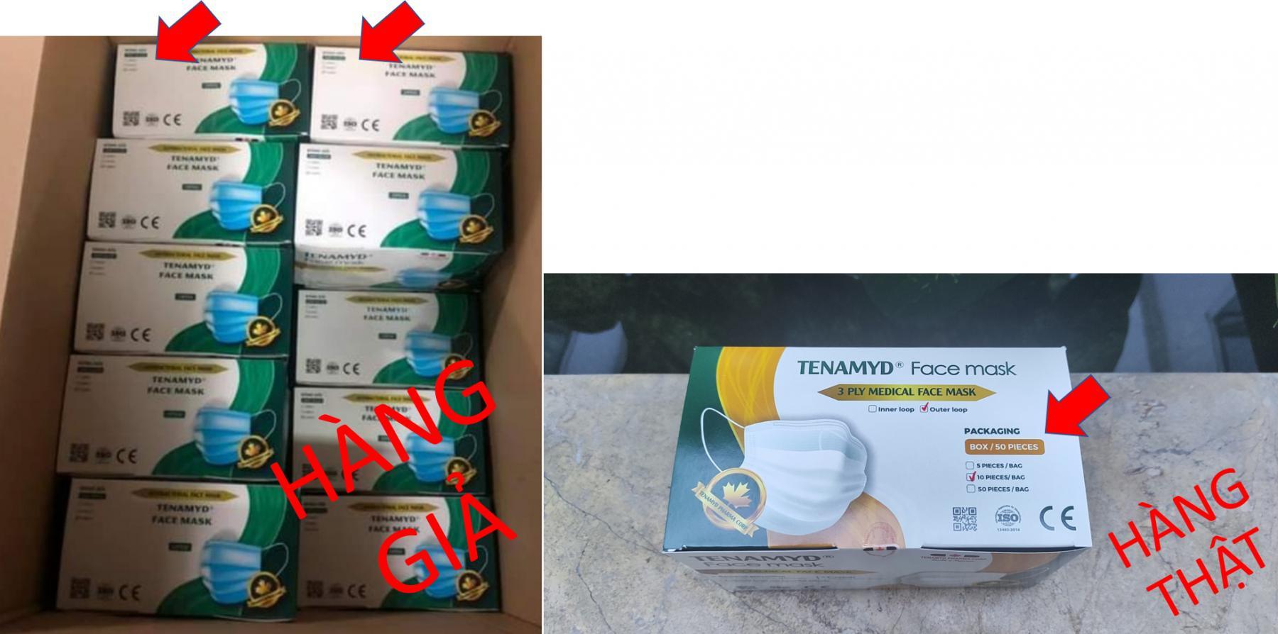 Cách phân biệt khẩu trang TENAMYD thật giả trên thị trường