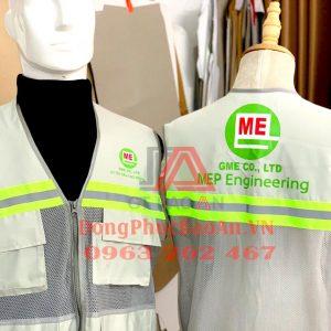 Đặt may áo gile bảo hộ phản quang có in logo theo yêu cầu TPHCM - Mẫu áo gile nhiều túi GME