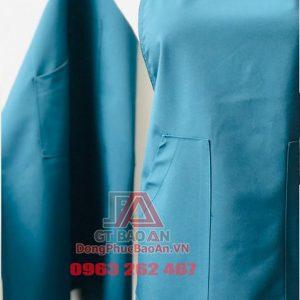 Tạp dề dù chống thấm nước cao cấp 3 khuy bấm - Màu xanh cổ vịt