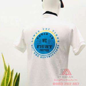 Áo thun đồng phục công ty cổ trụ màu trắng có in logo - Mẫu áo đồng phục công ty đẹp ONP Vietnam, LLC