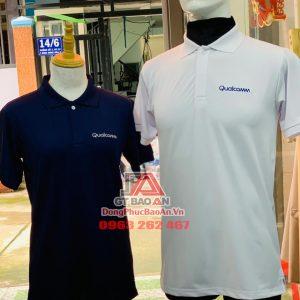May áo thun đồng phục cao cấp theo yêu cầu Công ty Qualcomm - Mẫu áo đồng phục đẹp Poly Sấu Thái màu xanh cổ vịt, màu trắng