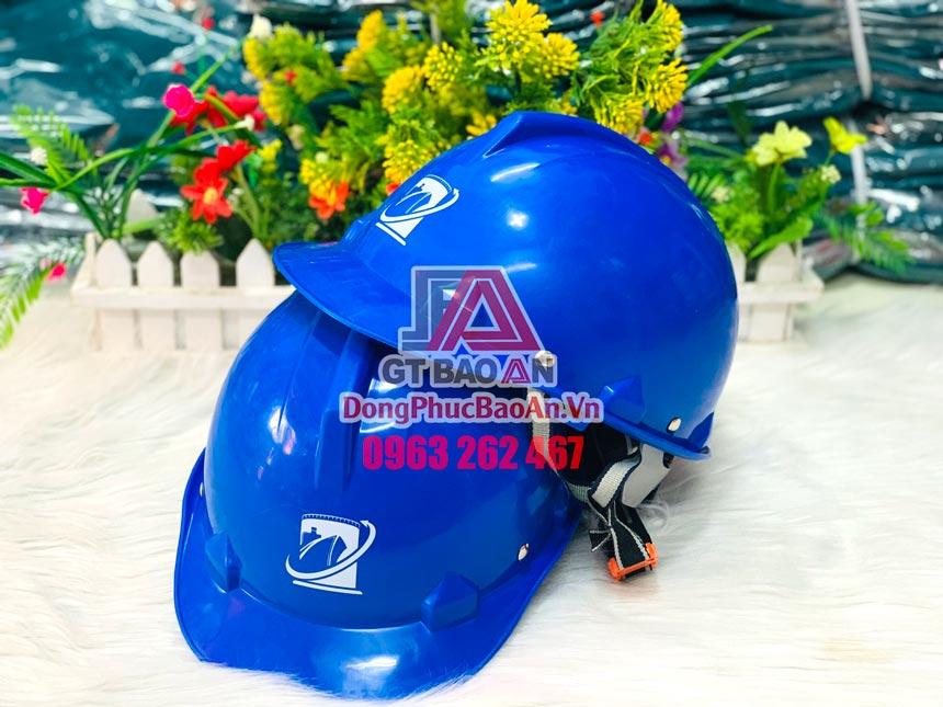 Xưởng đặt làm nón bảo hộ lao động in logo theo yêu cầu TPHCM - Mẫu nón bảo hộ xanh dương VAMCO PORT